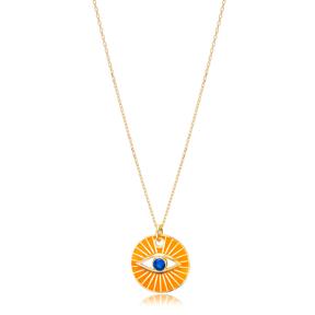 Eye Design Orange Enamel Color Necklace Handmade Turkish 925 Sterling Silver Jewelry