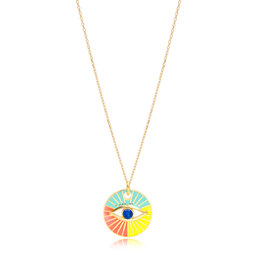 Round Shape Eye Design Colorful Enamel Necklace Handmade Turkish 925 Sterling Silver Jewelry
