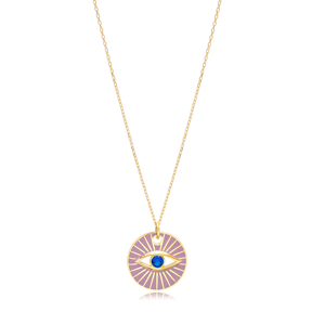 Colorful Enamel Eye Shape Pendant Handmade Turkish 925 Sterling Silver Jewelry