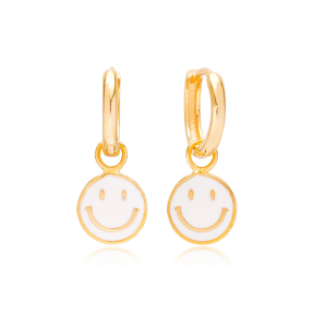 White Enamel  Smile Face Design Earrings Turkish Wholesale 925 Sterling Silver Jewelry