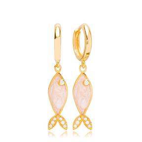 Fish Design Opal Stone Dangle Earring Wholesale Handmade Turkish 925 Silver Sterling Jewelry