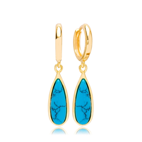 Drop Shape Gold Plated Turquoise Stone Design Turkish Wholesale 925 Sterling Silver Dangle Earrings