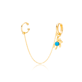 Bear Design Gold Plated Turquoise Stone Single Cartilage And Hoop Earrings 925 Sterling Silver Jewellery