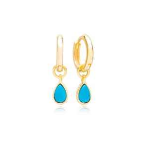 Drop Shape Turquoise Stone Gold Plated Dangle Earrings Turkish Wholesale 925 Sterling Silver Jewellery