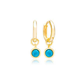 Round Shape Turquoise Stone Gold Plated Dangle Earrings Turkish Wholesale 925 Sterling Silver Jewellery