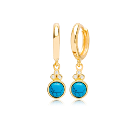 Round Turquoise Shape and Three Zircon Stone Turkish Wholesale 925 Sterling Silver Dangle Earrings