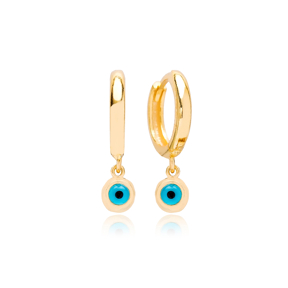 Round Shape Gold Plated Evil Eye Handcrafted Turkish Wholesale 925 Sterling Silver Dangle Earrings
