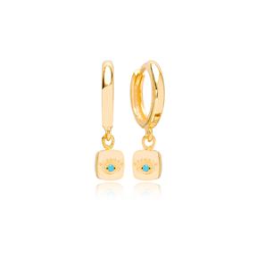 Square Shape Evil Eye Design Turkish Wholesale 925 Sterling Silver Dangle Earrings