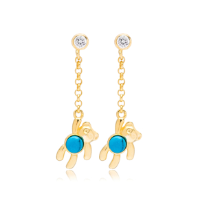 Bear Design Turquoise Stone 31 mm Length  Earrings Wholesale Turkish Handmade 925 Silver Sterling Jewelry