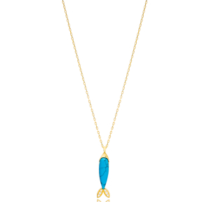 Turquoise Fish Design Zircon Stone Detailed Pendant Turkish Wholesale Handmade 925 Sterling Silver Jewelry