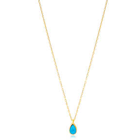 Turquoise Drop Stone Gold Plated Chain Necklace Wholesale Turkish 925 Sterling Silver Jewelry