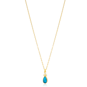 Turquoise Drop Shape Three Zircon Stone Detailed Charm Necklace Wholesale Turkish 925 Sterling Silver Jewelry