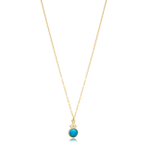 Turquoise Round Shape Three Zircon Detailed Stone Gold Plated Charm Necklace  925 Sterling Silver Jewelry