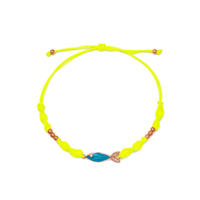 Blue Fish Design Zircon Stone Detailed Yellow Knitting Bracelet Wholesale Handmade 925 Sterling Silver Jewellery