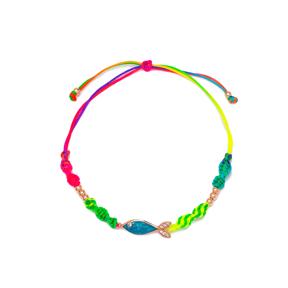 Blue Fish Design Zircon Stone Detailed Rainbow Knitting Bracelet Wholesale Handmade 925 Sterling Silver Jewelry
