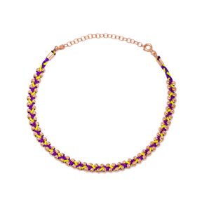 Purple and Yellow Colour Knitting Design Turkish Wholesale Handcrafted Silver Anklet