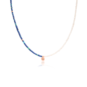 Square Evil Eye Charm Double Colour Necklace Wholesale Turkish 925 Sterling Silver Jewelry