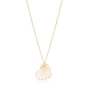 Heart Shape White Enamel Pendant Handcrafted Turkish 925 Sterling Silver Jewelry