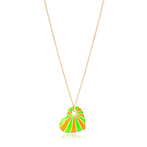 Neon Orange and Green Enamel Heart Shape Necklace Turkish 925 Sterling Silver Jewelry
