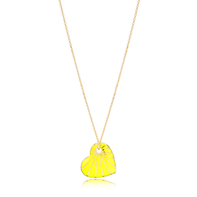 Heart Shape Yellow Enamel Pendant Handcrafted Turkish 925 Sterling Silver Jewelry