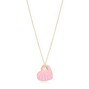 Heart Shape Pink Enamel Pendant Handcrafted Turkish 925 Sterling Silver Jewelry