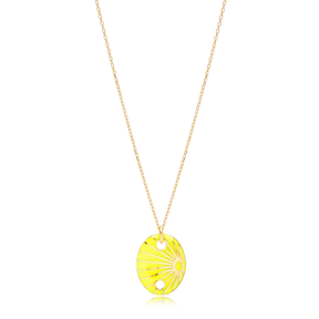 Oval Shape Yellow Enamel Pendant Handcrafted Turkish 925 Sterling Silver Jewelry
