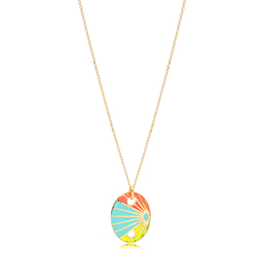 Oval Shape Rainbow Enamel Pendant Handcrafted Turkish 925 Sterling Silver Jewelry