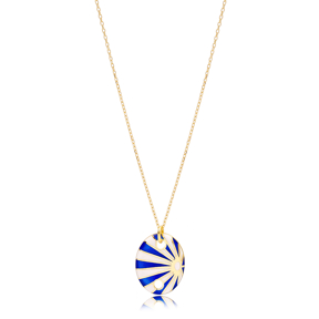 Oval Shape Blue and White Enamel Pendant Handcrafted Turkish 925 Sterling Silver Jewelry