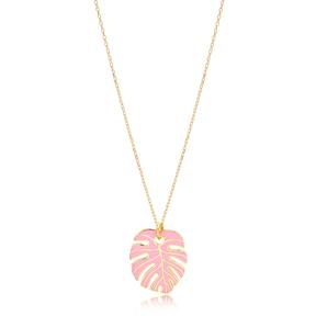Pink Enamel Palm Leaf Shape Necklace Turkish 925 Sterling Silver Jewelry