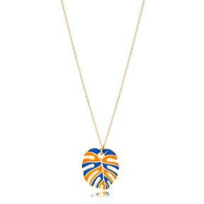 Blue and Orange  Enamel Palm Leaf Shape Necklace Turkish 925 Sterling Silver Jewelry