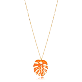 Orange  Enamel Palm Leaf Shape Necklace Turkish 925 Sterling Silver Jewelry