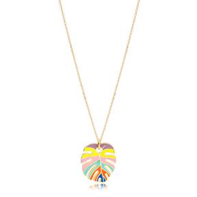 Rainbow Enamel Palm Leaf Shape Necklace Turkish 925 Sterling Silver Jewelry