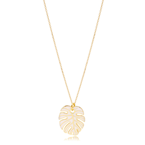 White Enamel Palm Leaf Shape Necklace Turkish 925 Sterling Silver Jewelry