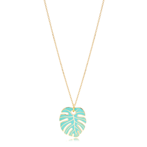 Turquoise Enamel Palm Leaf Shape Necklace Turkish 925 Sterling Silver Jewelry