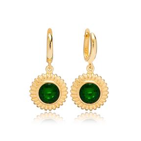 Dainty Round Emerald Charm Dangle Earrings Turkish Wholesale 925 Sterling Silver Jewellery