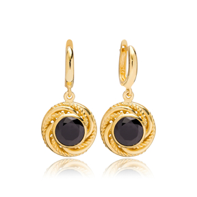 Dainty Round Black Onyx Charm Dangle Earrings Turkish Wholesale 925 Sterling Silver Jewellery