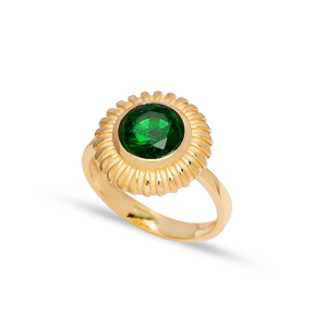 Dainty Round Emerald Stone Turkish Rings Wholesale Fashion 925 Sterling Silver Jewelry