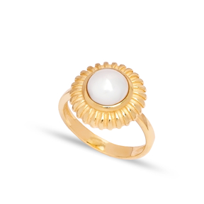 Dainty Round Pearl Stone Turkish Rings Wholesale Fashion 925 Sterling Silver Jewelry