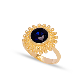 Dainty Round Blue Sapphire Stone Turkish Rings Wholesale Fashion 925 Sterling Silver Jewelry