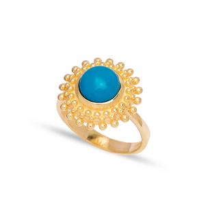 Dainty Round Turquoise Stone Turkish Rings Wholesale Fashion 925 Sterling Silver Jewelry