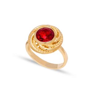 Dainty Round Garnet Stone Turkish Rings Wholesale Fashion 925 Sterling Silver Jewelry