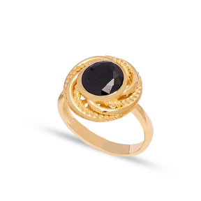 Dainty Round Black Onyx Stone Turkish Rings Wholesale Fashion 925 Sterling Silver Jewelry