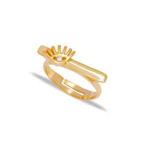 Evil Eye Design Zirconia Stone Adjustable Ring Turkish Wholesale 925 Sterling Silver Jewelry
