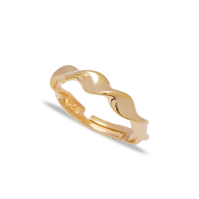 Trendy Wave Design Adjustable Ring Turkish Wholesale 925 Sterling Silver Jewelry