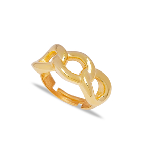 Trendy Chain Design Adjustable Ring Turkish Wholesale 925 Sterling Silver Jewelry