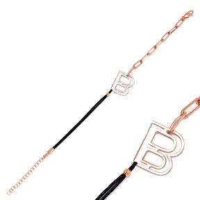 Chain Letter B Alphabet String Charm Bracelet Turkish Wholesale 925 Sterling Silver Jewelry