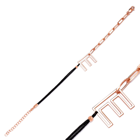 Chain Letter E Alphabet String Charm Bracelet Turkish Wholesale 925 Sterling Silver Jewelry