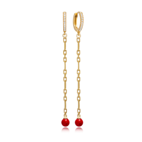 Unique Red Mallorca Pearl Charm Dangle Long Earrings Turkish Wholesale 925 Sterling Silver Jewelry