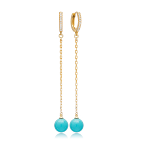Turquoise Mallorca Pearl Charm Dangle Long Earrings Turkish Wholesale 925 Sterling Silver Jewelry