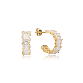 Elegant Baguette Stud Design Hoop Earrings Turkish Handmade Wholesale 925 Sterling Silver Jewelry